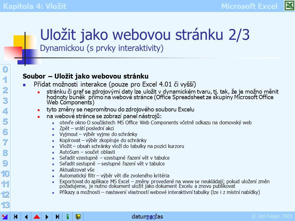 Kapitola 4: Vložit Microsoft Excel © Jan Felger 2005 datum a čas 260 Uložit jako webovou stránku 2/3 Dynamickou (s prvky interaktivity) Soubor – Uloži