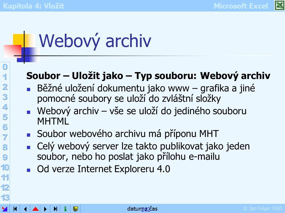 Kapitola 4: Vložit Microsoft Excel © Jan Felger 2005 datum a čas 262 Webový archiv Soubor – Uložit jako – Typ souboru: Webový archiv Běžné uložení dok