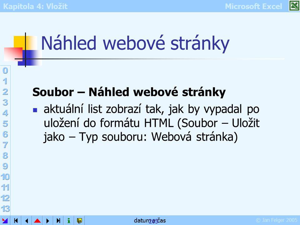 Kapitola 4: Vložit Microsoft Excel © Jan Felger 2005 datum a čas 265 Náhled webové stránky Soubor – Náhled webové stránky aktuální list zobrazí tak, j