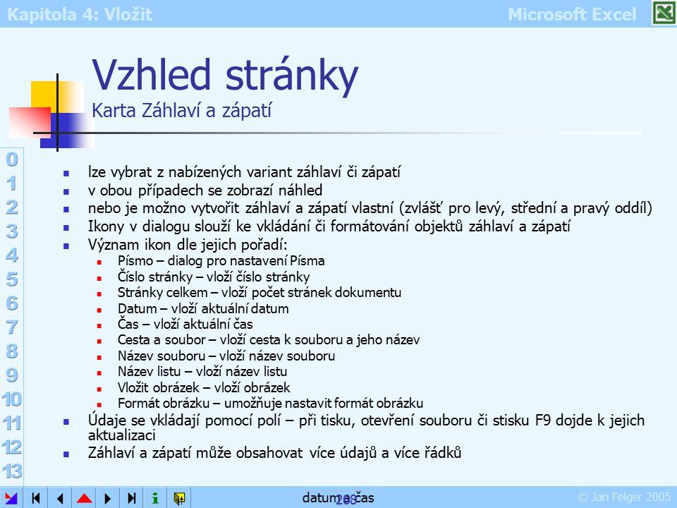 Kapitola 4: Vložit Microsoft Excel © Jan Felger 2005 datum a čas 268 Vzhled stránky Karta Záhlaví a zápatí lze vybrat z nabízených variant záhlaví či