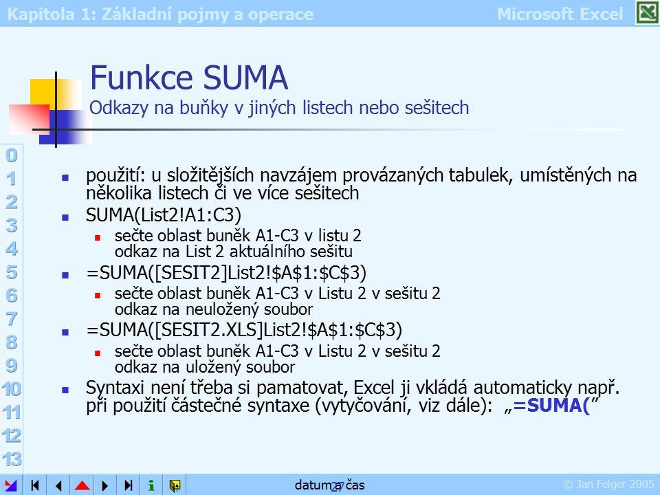 Kapitola 1: Základní pojmy a operace Microsoft Excel © Jan Felger 2005 datum a čas 27 Funkce SUMA Odkazy na buňky v jiných listech nebo sešitech použi