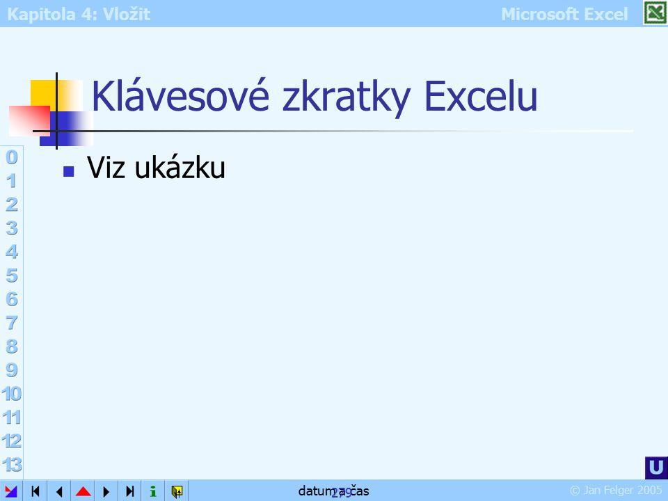 Kapitola 4: Vložit Microsoft Excel © Jan Felger 2005 datum a čas 279 Klávesové zkratky Excelu Viz ukázku