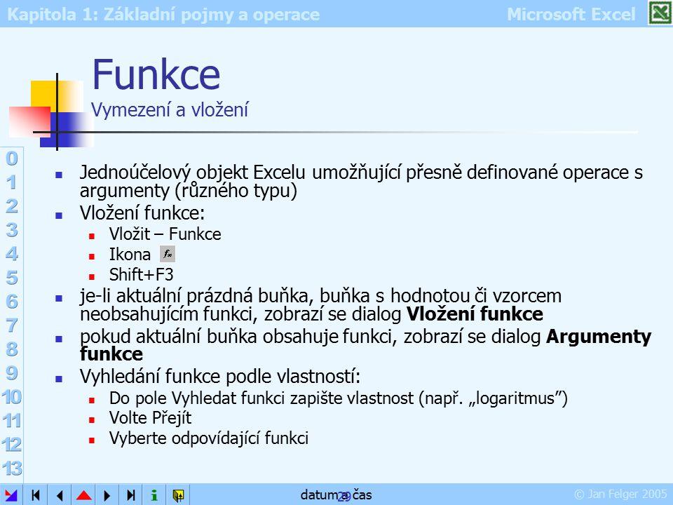Kapitola 1: Základní pojmy a operace Microsoft Excel © Jan Felger 2005 datum a čas 29 Funkce Vymezení a vložení Jednoúčelový objekt Excelu umožňující