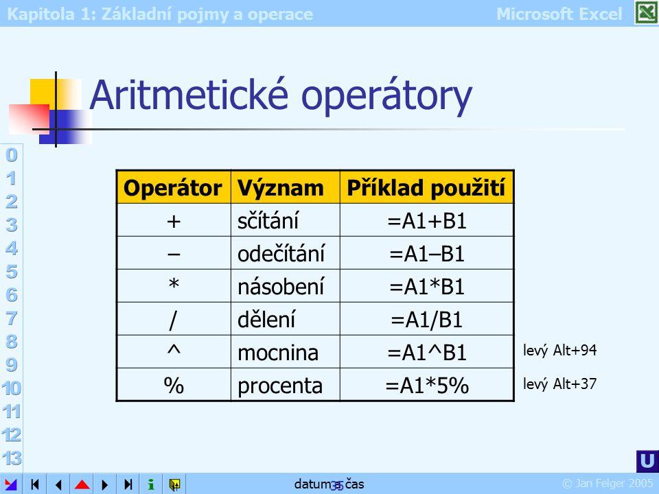 Kapitola 1: Základní pojmy a operace Microsoft Excel © Jan Felger 2005 datum a čas 35 Aritmetické operátory OperátorVýznamPříklad použití +sčítání=A1+