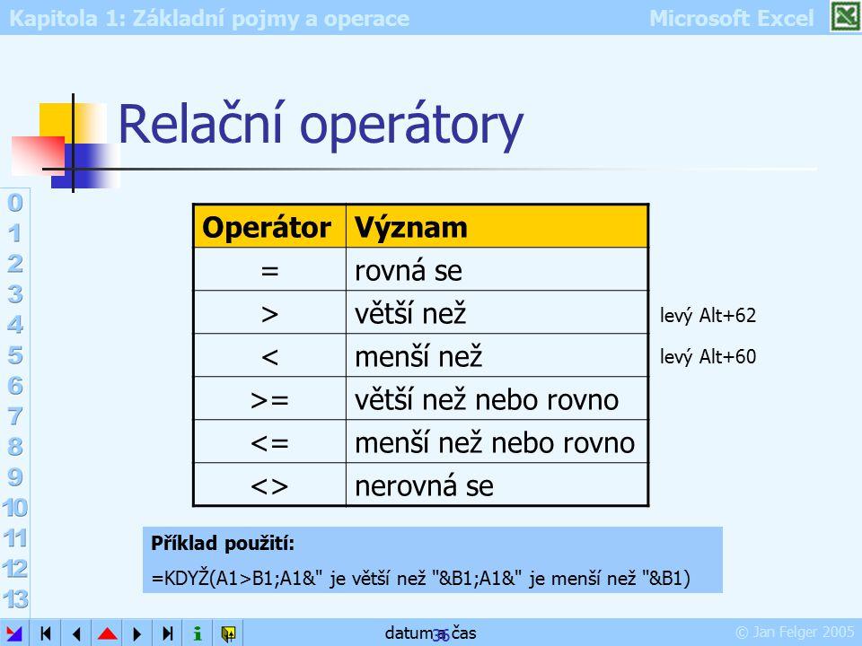 Kapitola 1: Základní pojmy a operace Microsoft Excel © Jan Felger 2005 datum a čas 36 Relační operátory OperátorVýznam =rovná se >větší než <menší než