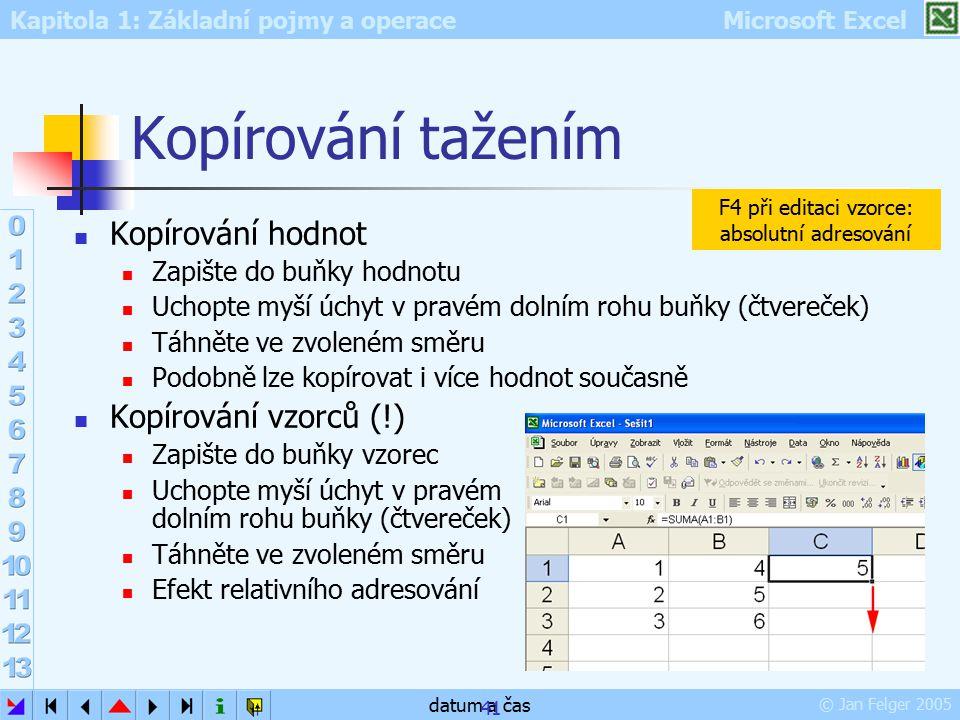 Kapitola 1: Základní pojmy a operace Microsoft Excel © Jan Felger 2005 datum a čas 41 Kopírování tažením Kopírování hodnot Zapište do buňky hodnotu Uc