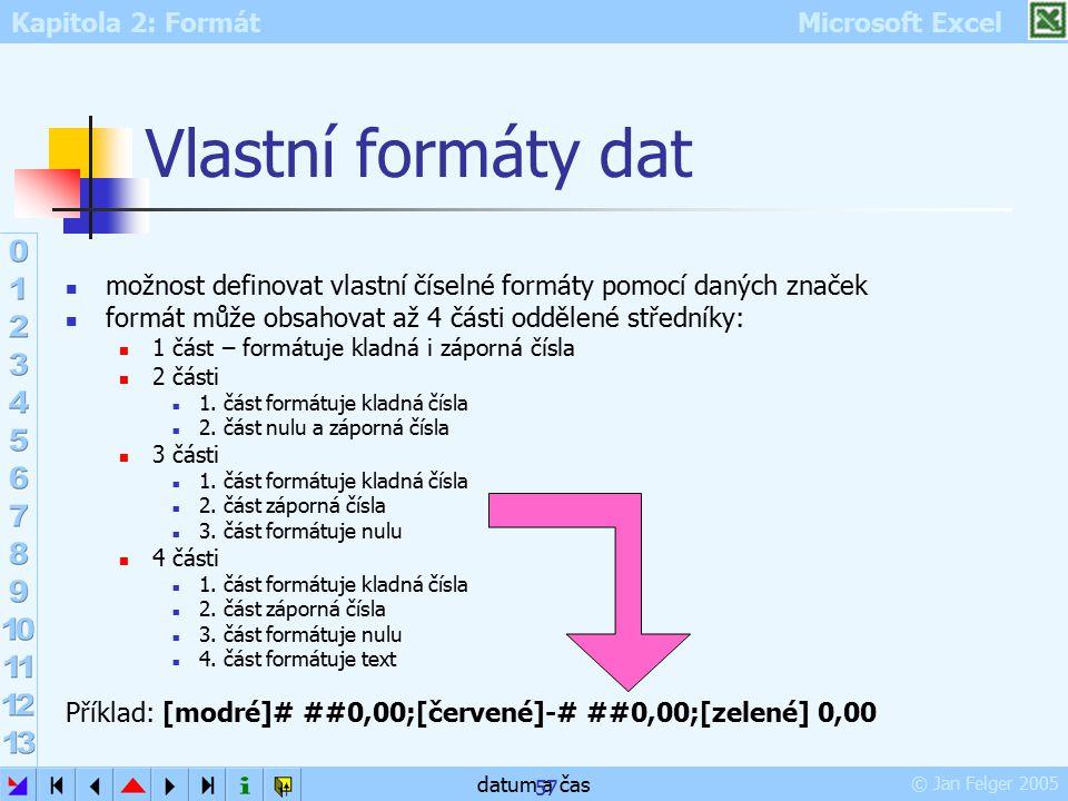 Kapitola 2: Formát Microsoft Excel © Jan Felger 2005 datum a čas 57 Vlastní formáty dat možnost definovat vlastní číselné formáty pomocí daných značek