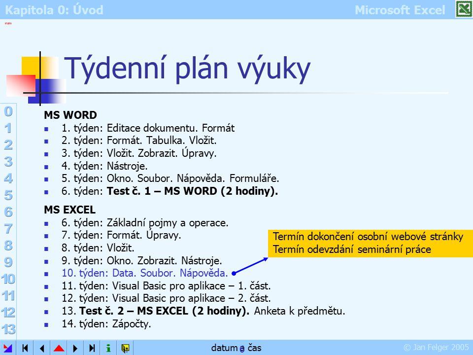 Kapitola 0: Úvod Microsoft Excel © Jan Felger 2005 crypto datum a čas 6 Týdenní plán výuky MS WORD 1. týden: Editace dokumentu. Formát 2. týden: Formá