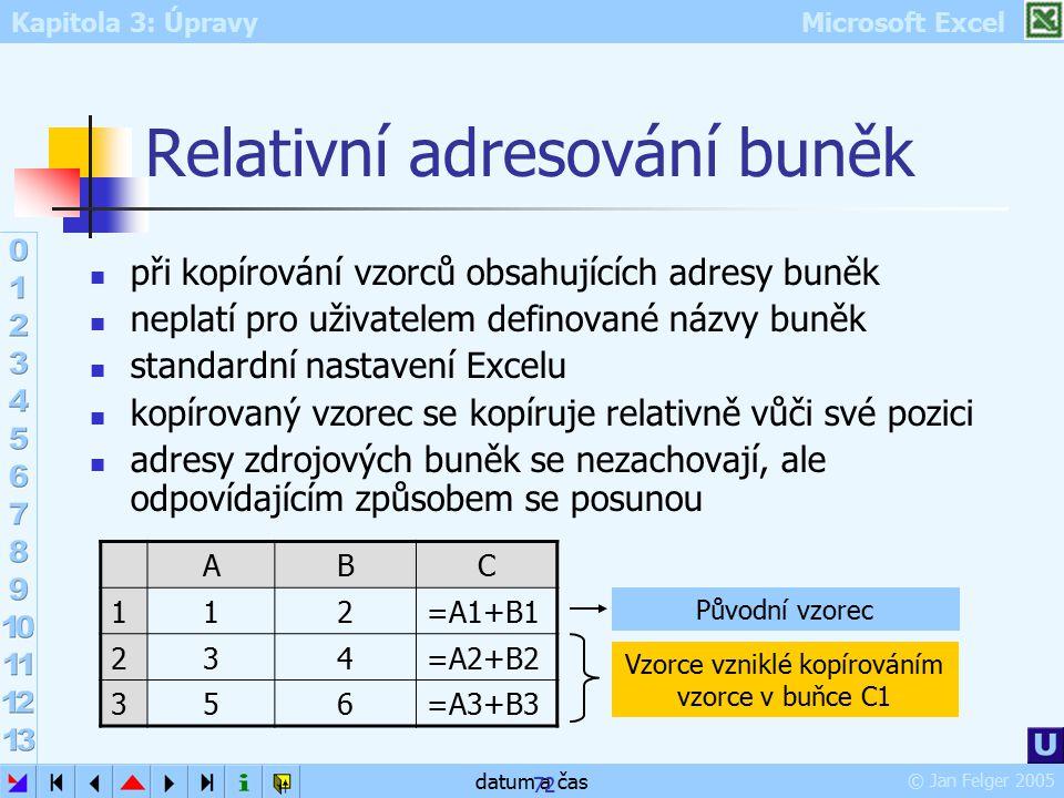 Kapitola 3: Úpravy Microsoft Excel © Jan Felger 2005 datum a čas 72 Relativní adresování buněk při kopírování vzorců obsahujících adresy buněk neplatí