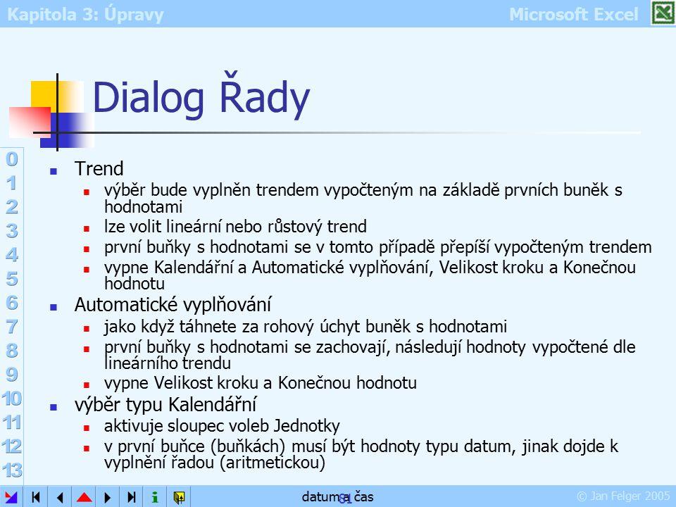 Kapitola 3: Úpravy Microsoft Excel © Jan Felger 2005 datum a čas 81 Dialog Řady Trend výběr bude vyplněn trendem vypočteným na základě prvních buněk s