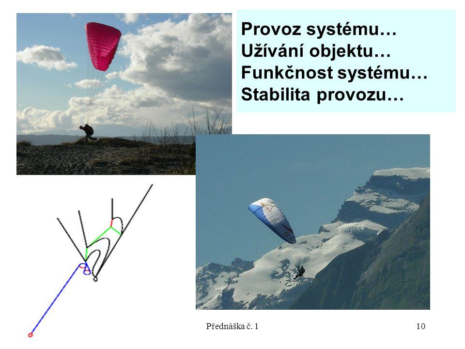 10/2007Přednáška č. 110 Provoz systému… Užívání objektu… Funkčnost systému… Stabilita provozu…