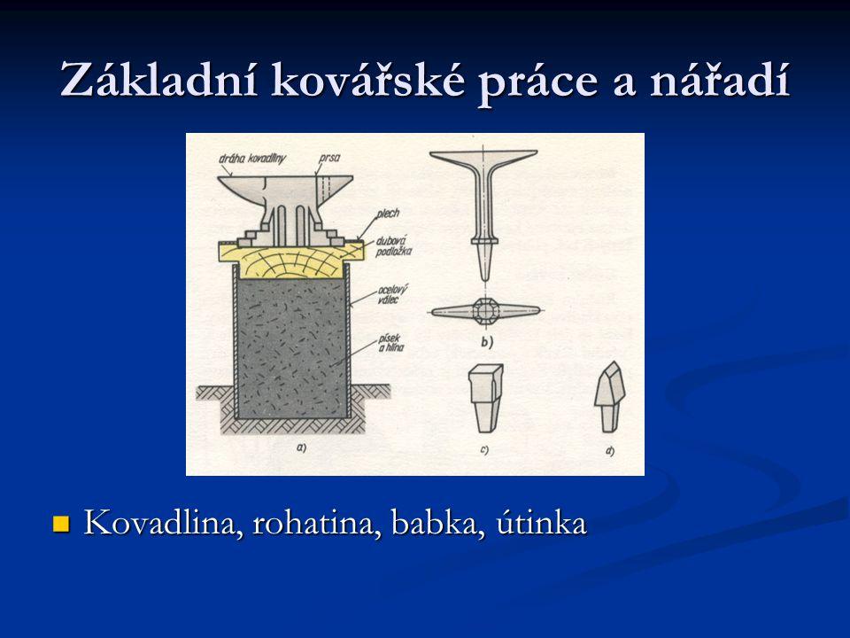 Základní kovářské práce a nářadí Kovadlina, rohatina, babka, útinka Kovadlina, rohatina, babka, útinka