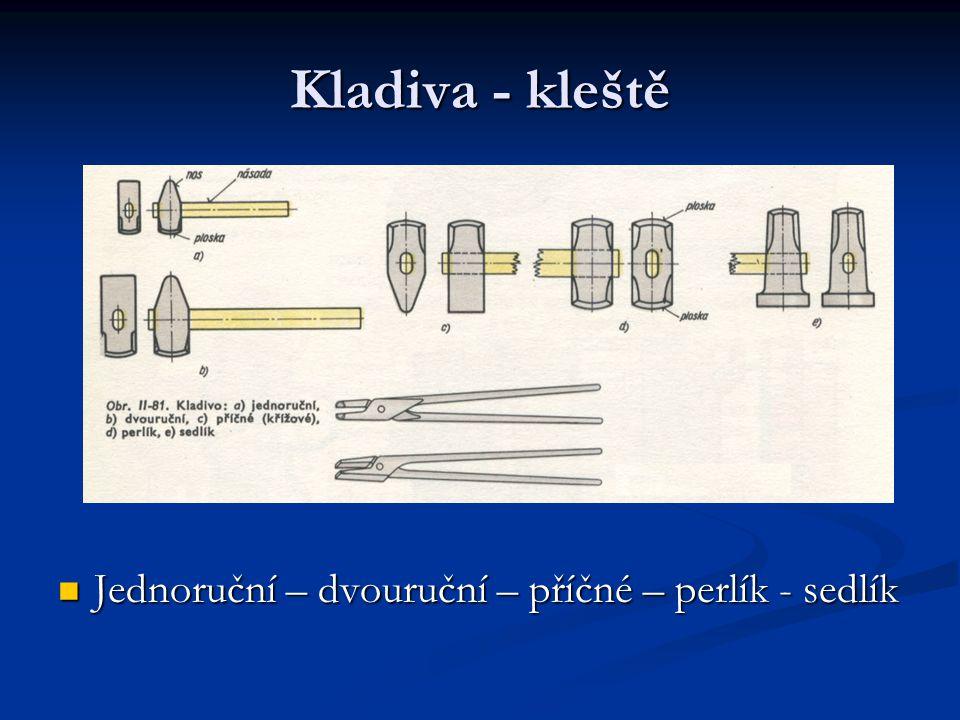 Kladiva - kleště Jednoruční – dvouruční – příčné – perlík - sedlík Jednoruční – dvouruční – příčné – perlík - sedlík