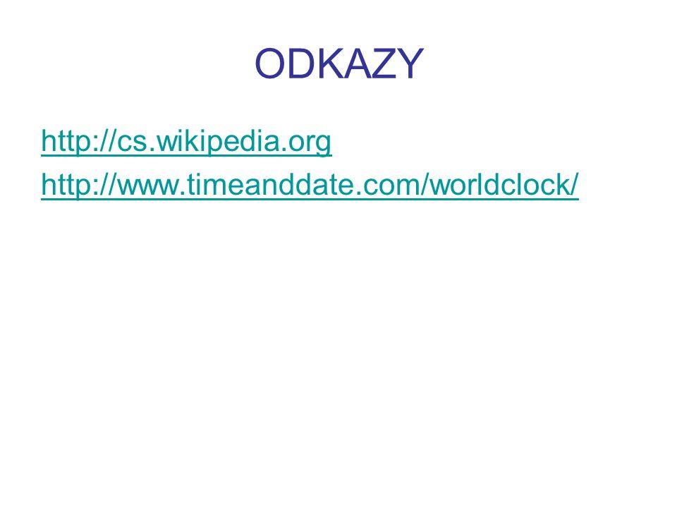 ODKAZY http://cs.wikipedia.org http://www.timeanddate.com/worldclock/