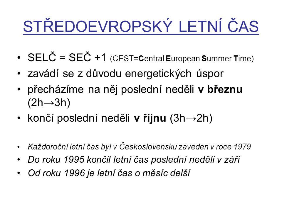 STŘEDOEVROPSKÝ LETNÍ ČAS SELČ = SEČ +1 (CEST=Central European Summer Time) zavádí se z důvodu energetických úspor přecházíme na něj poslední neděli v