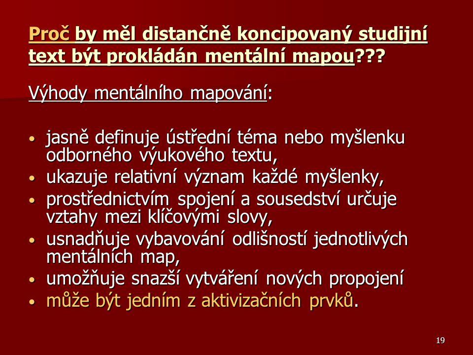 19 Proč by měl distančně koncipovaný studijní text být prokládán mentální mapou??.