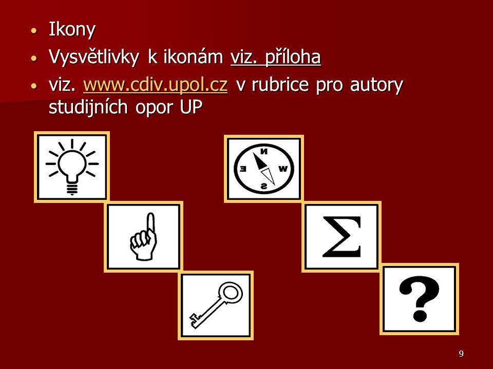 9 Ikony Ikony Vysvětlivky k ikonám viz.příloha Vysvětlivky k ikonám viz.