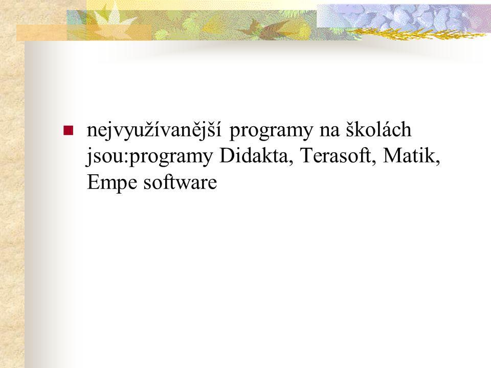 nejvyužívanější programy na školách jsou:programy Didakta, Terasoft, Matik, Empe software