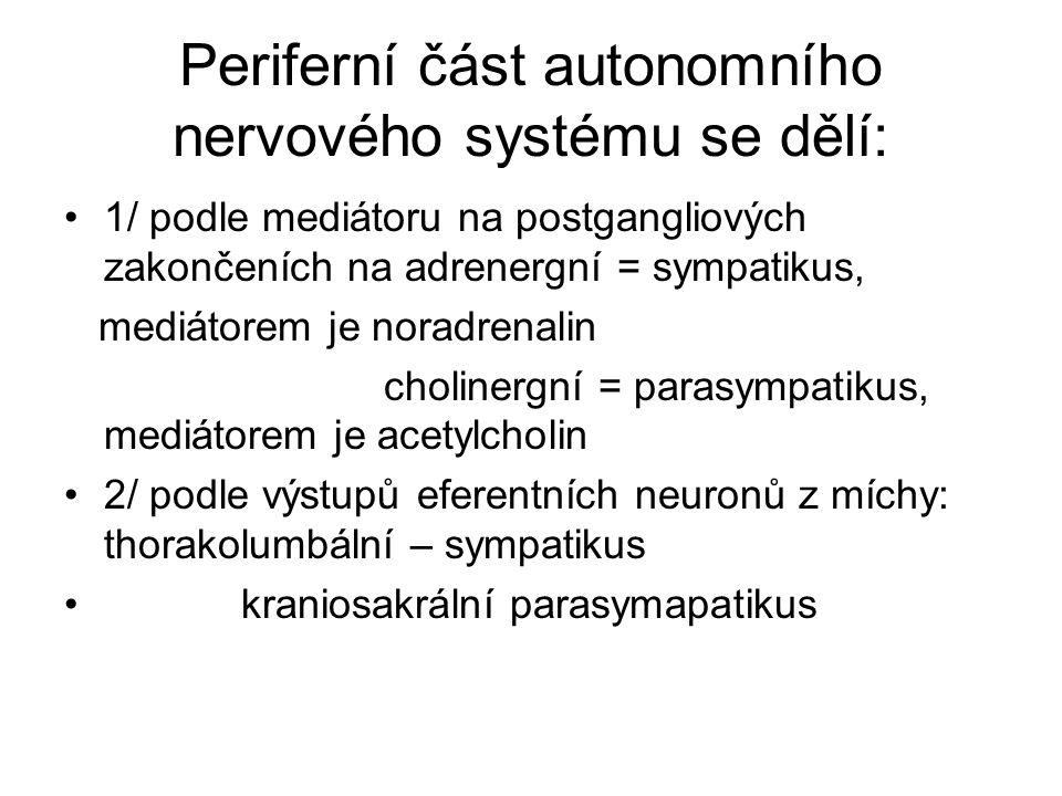 Periferní část autonomního nervového systému se dělí: 1/ podle mediátoru na postgangliových zakončeních na adrenergní = sympatikus, mediátorem je nora