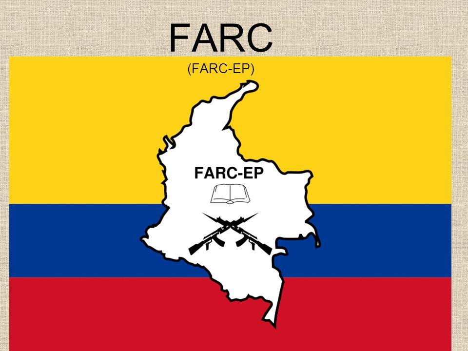 FARC FARC - EP F uerzas A rmadas R evolucionarias de C olombia – Ejército del Pueblo Revoluční ozbrojené síly Kolumbie – Lidová armáda Je nejstarší a v současnosti nejsilnější kolumbijskou ultralevicovou guerillovou organizací bojující proti státní armádě Oficiální datum jejího založení: 1964