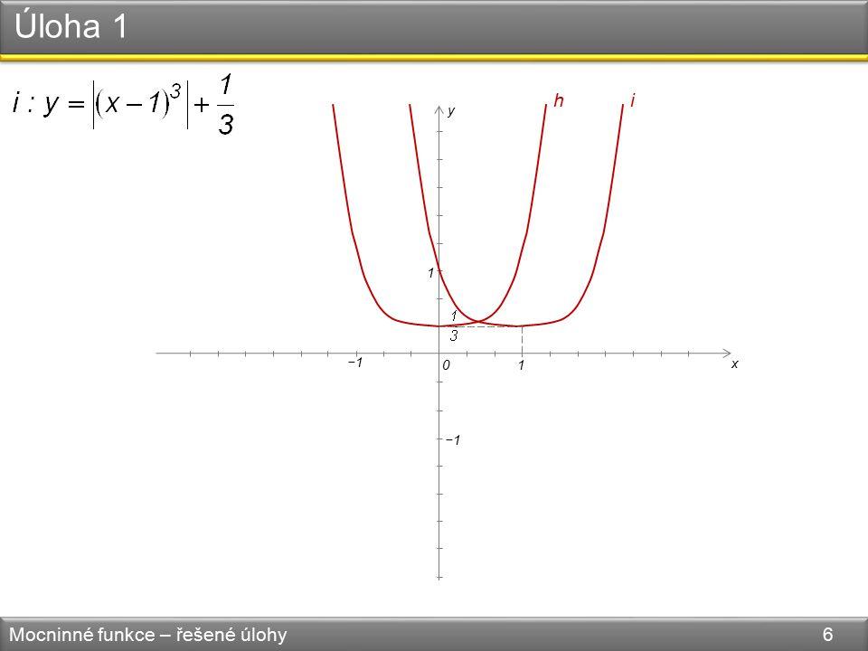 Úloha 1 Mocninné funkce – řešené úlohy 6 1 1 0 −1 x y h i