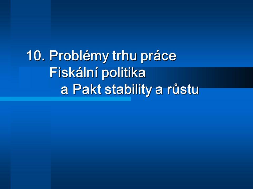 10. Problémy trhu práce Fiskální politika a Pakt stability a růstu 10. Problémy trhu práce Fiskální politika a Pakt stability a růstu