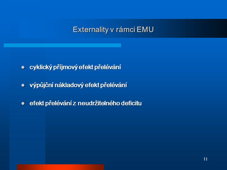 11 Externality v rámci EMU cyklický příjmový efekt přelévání cyklický příjmový efekt přelévání výpůjční nákladový efekt přelévání výpůjční nákladový e