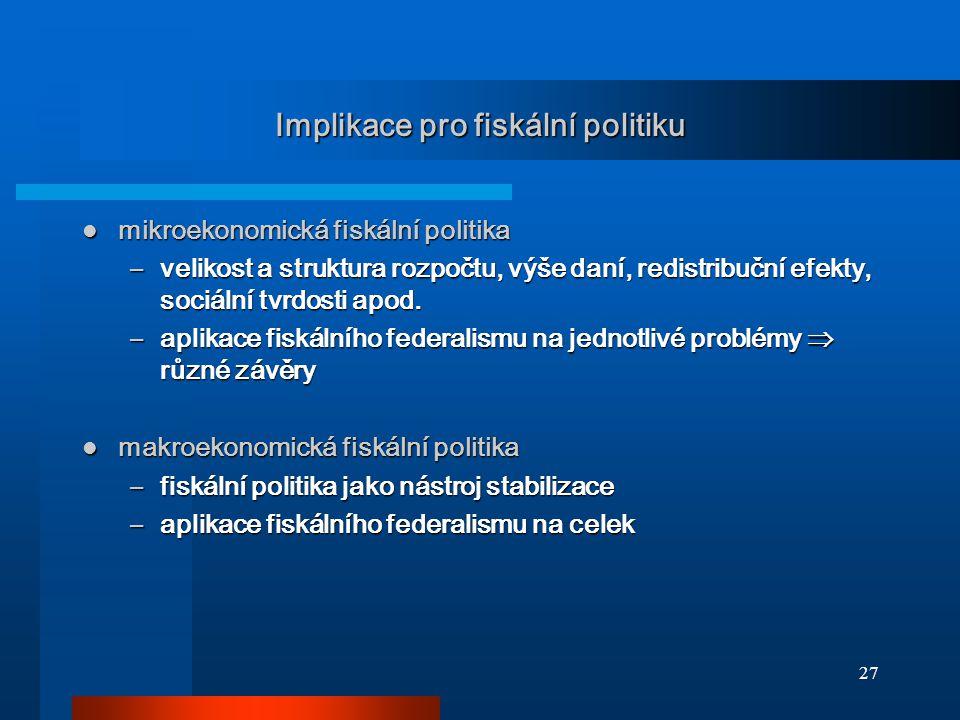 27 Implikace pro fiskální politiku mikroekonomická fiskální politika mikroekonomická fiskální politika –velikost a struktura rozpočtu, výše daní, redistribuční efekty, sociální tvrdosti apod.