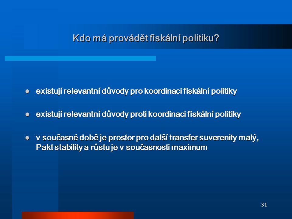 31 Kdo má provádět fiskální politiku? existují relevantní důvody pro koordinaci fiskální politiky existují relevantní důvody pro koordinaci fiskální p
