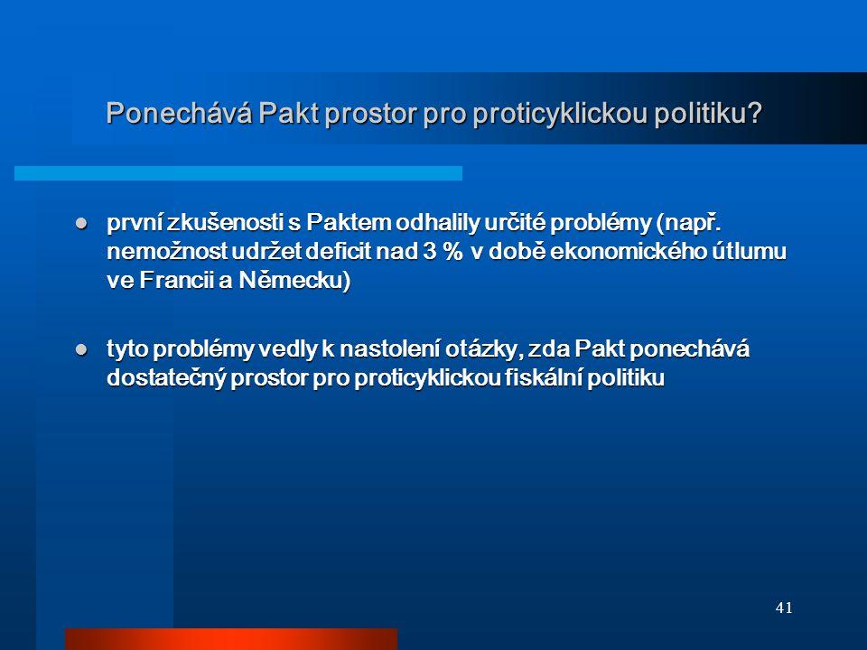 41 Ponechává Pakt prostor pro proticyklickou politiku? první zkušenosti s Paktem odhalily určité problémy (např. nemožnost udržet deficit nad 3 % v do