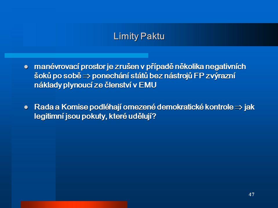 47 Limity Paktu manévrovací prostor je zrušen v případě několika negativních šoků po sobě  ponechání států bez nástrojů FP zvýrazní náklady plynoucí