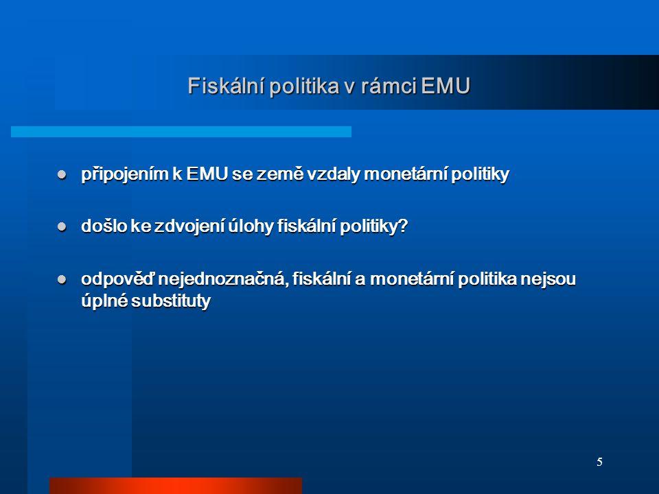 5 Fiskální politika v rámci EMU připojením k EMU se země vzdaly monetární politiky připojením k EMU se země vzdaly monetární politiky došlo ke zdvojen