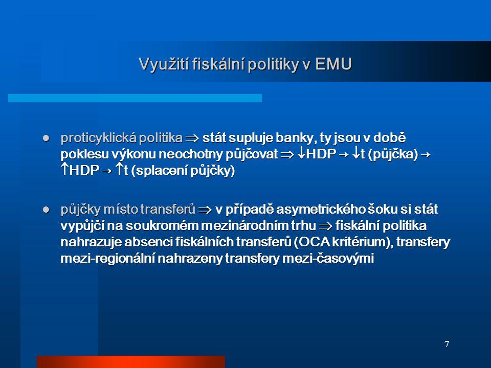 7 Využití fiskální politiky v EMU proticyklická politika  stát supluje banky, ty jsou v době poklesu výkonu neochotny půjčovat   HDP →  t (půjčka)