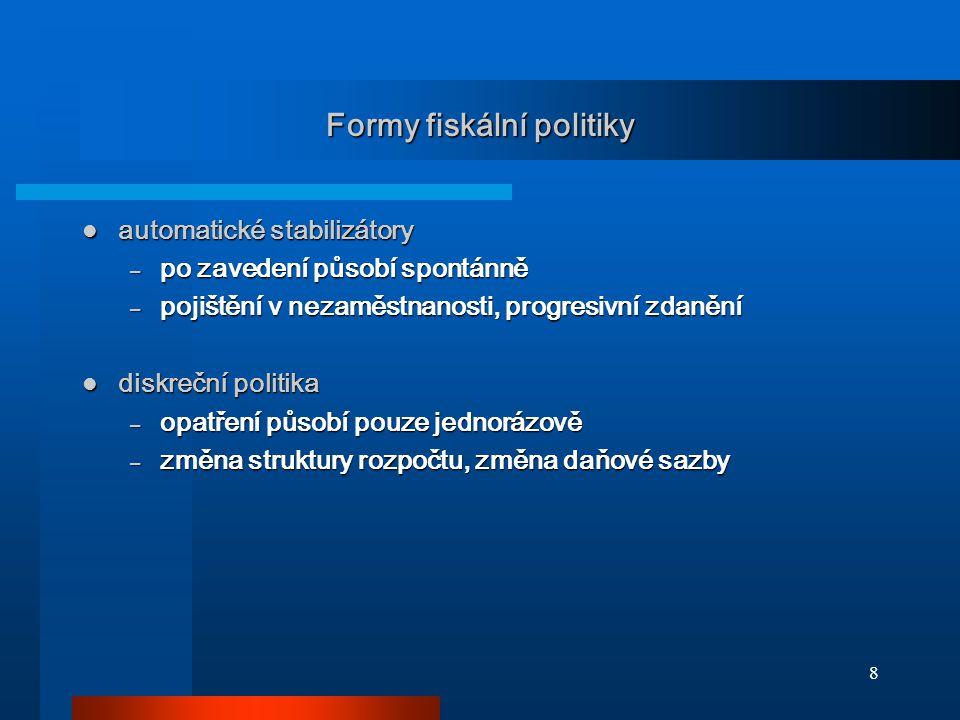 8 Formy fiskální politiky automatické stabilizátory automatické stabilizátory – po zavedení působí spontánně – pojištění v nezaměstnanosti, progresivn