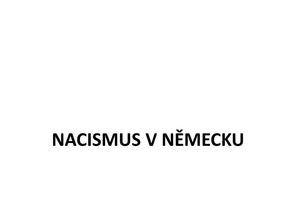Nacismus fašistické pojetí státu + nadřazenost árijské rasy světovláda německého národa rasismus antisemetismus