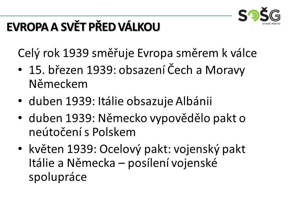 EVROPA A SVĚT PŘED VÁLKOU Celý rok 1939 směřuje Evropa směrem k válce Hitler požaduje Gdaňsk na Polsku 23.