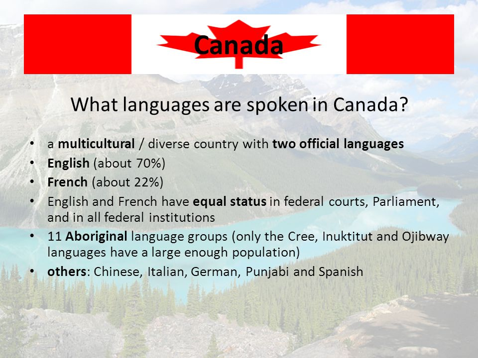 What languages are spoken in Canada? Canada a multicultural / diverse country with two official languages English (about 70%) French (about 22%) Engli