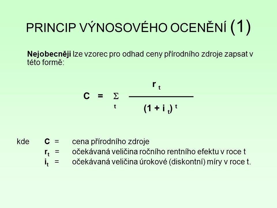 PRINCIP VÝNOSOVÉHO OCENĚNÍ (1) Nejobecněji lze vzorec pro odhad ceny přírodního zdroje zapsat v této formě: r t C =  ——————— t (1 + i t ) t kde C = c