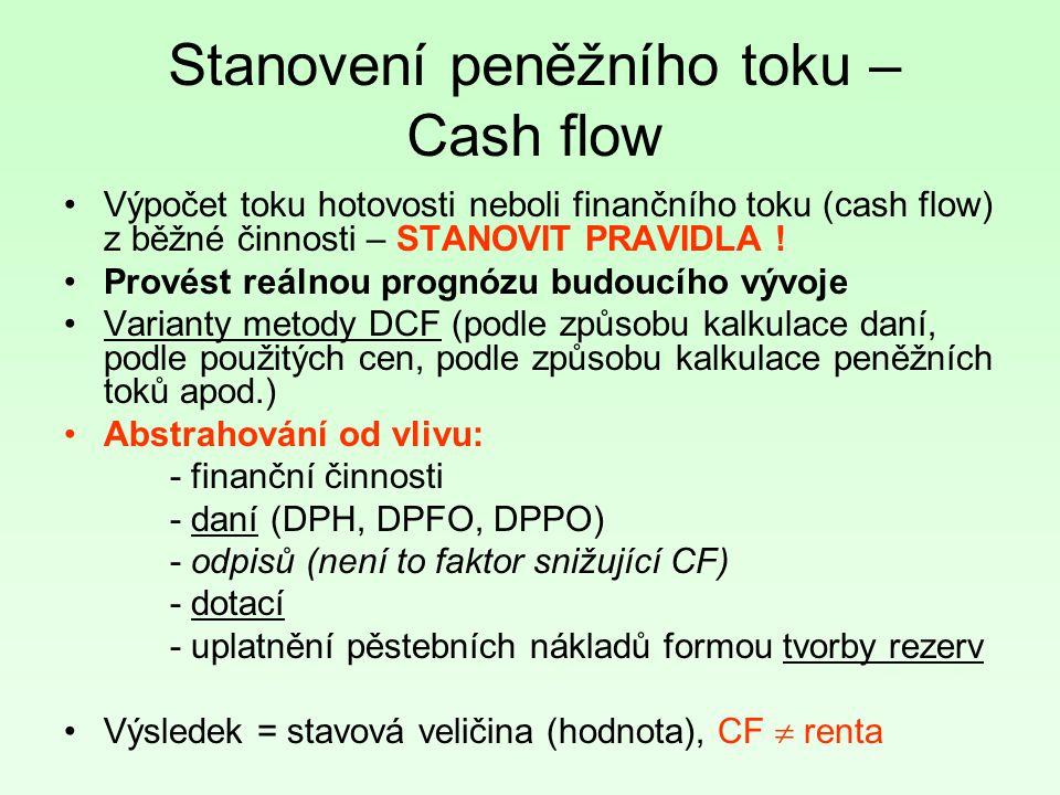 Stanovení peněžního toku – Cash flow Výpočet toku hotovosti neboli finančního toku (cash flow) z běžné činnosti – STANOVIT PRAVIDLA ! Provést reálnou