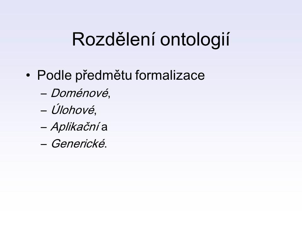 Rozdělení ontologií Podle předmětu formalizace –Doménové, –Úlohové, –Aplikační a –Generické.