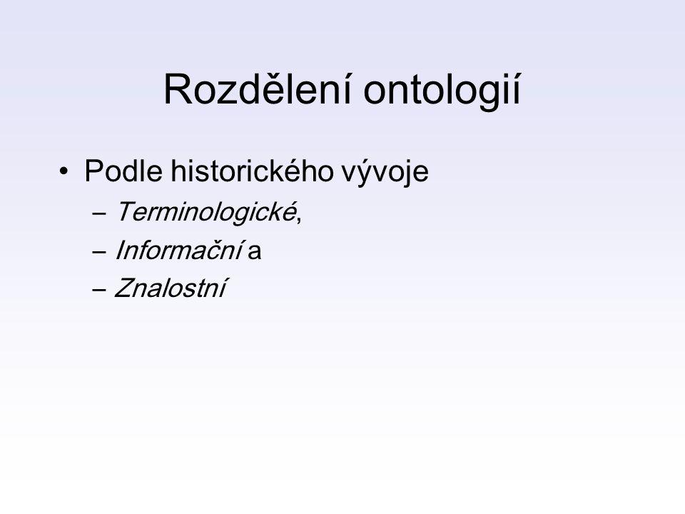 Rozdělení ontologií Podle historického vývoje –Terminologické, –Informační a –Znalostní