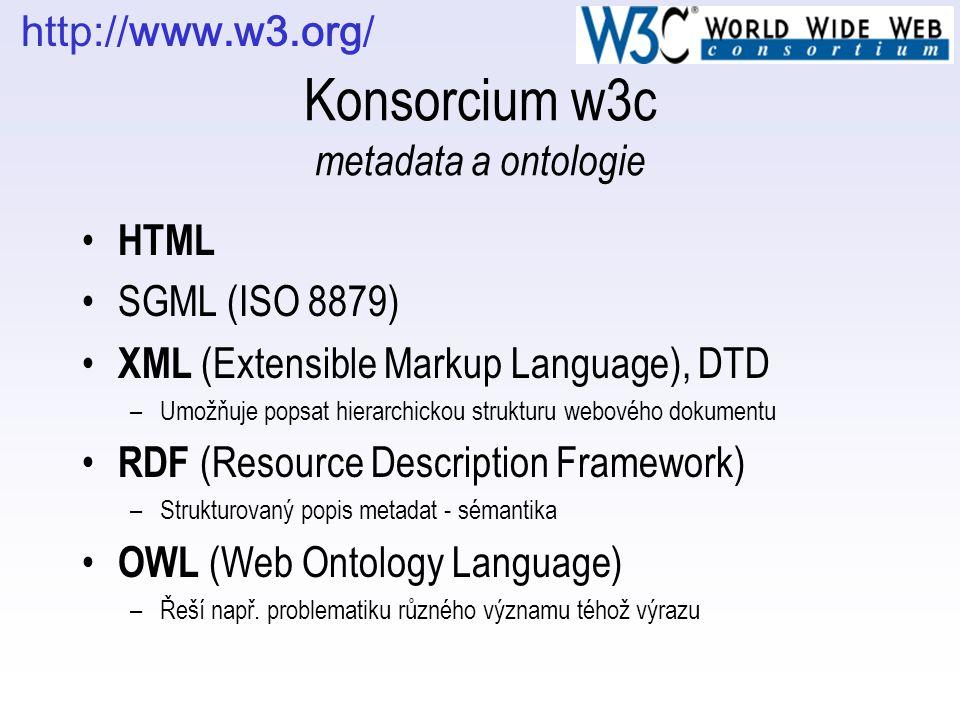 Konsorcium w3c metadata a ontologie HTML SGML (ISO 8879) XML (Extensible Markup Language), DTD –Umožňuje popsat hierarchickou strukturu webového dokum