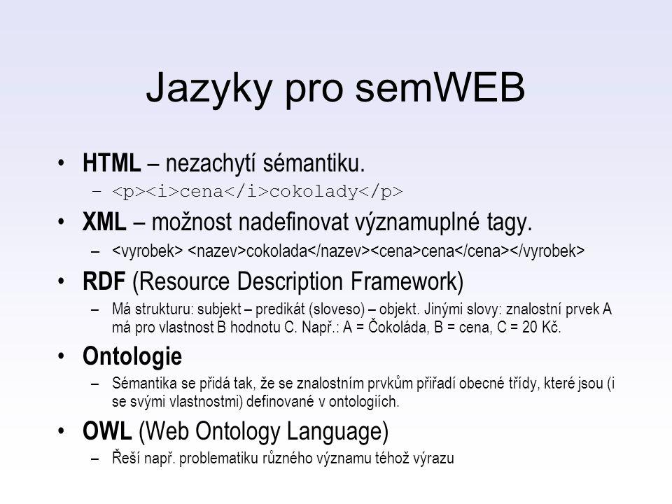 Jazyky pro semWEB HTML – nezachytí sémantiku. – cena cokolady XML – možnost nadefinovat významuplné tagy. – cokolada cena RDF (Resource Description Fr