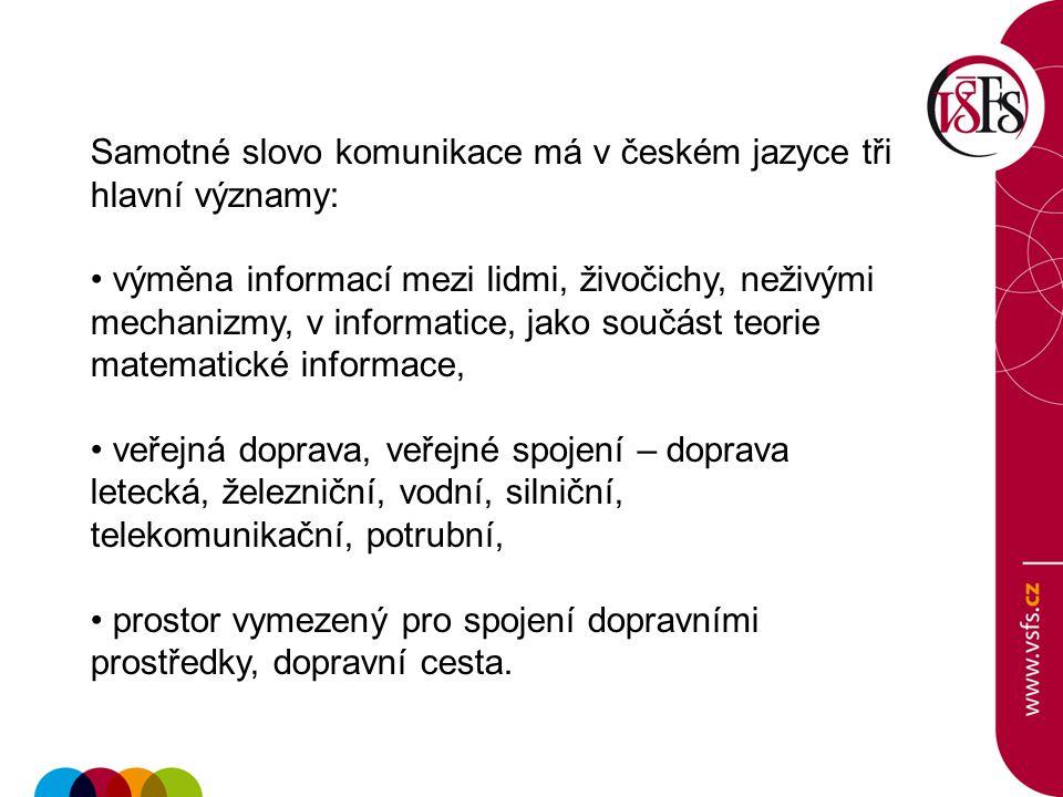 Samotné slovo komunikace má v českém jazyce tři hlavní významy: výměna informací mezi lidmi, živočichy, neživými mechanizmy, v informatice, jako součá
