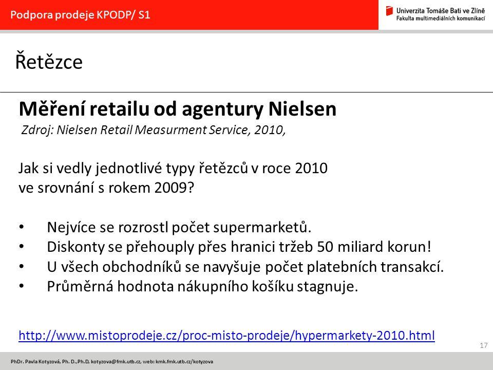 17 PhDr. Pavla Kotyzová, Ph. D.,Ph.D, kotyzova@fmk.utb.cz, web: kmk.fmk.utb.cz/kotyzova Řetězce Podpora prodeje KPODP/ S1 Měření retailu od agentury N