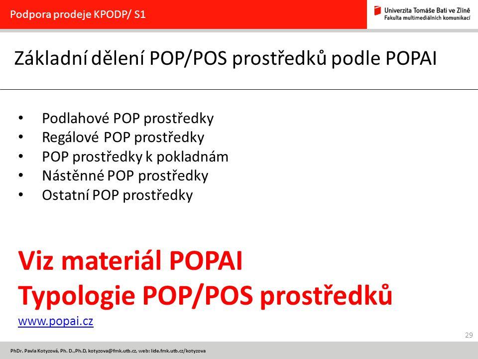 29 PhDr. Pavla Kotyzová, Ph. D.,Ph.D, kotyzova@fmk.utb.cz, web: lide.fmk.utb.cz/kotyzova Základní dělení POP/POS prostředků podle POPAI Podpora prodej