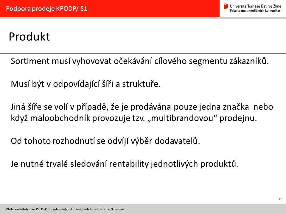 31 PhDr. Pavla Kotyzová, Ph. D.,Ph.D, kotyzova@fmk.utb.cz, web: kmk.fmk.utb.cz/kotyzova Produkt Podpora prodeje KPODP/ S1 Sortiment musí vyhovovat oče