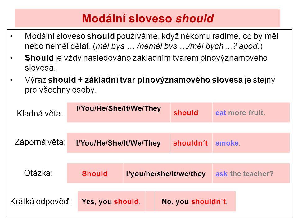 Modální sloveso should Modální sloveso should používáme, když někomu radíme, co by měl nebo neměl dělat. (měl bys … /neměl bys …/měl bych...? apod.) S