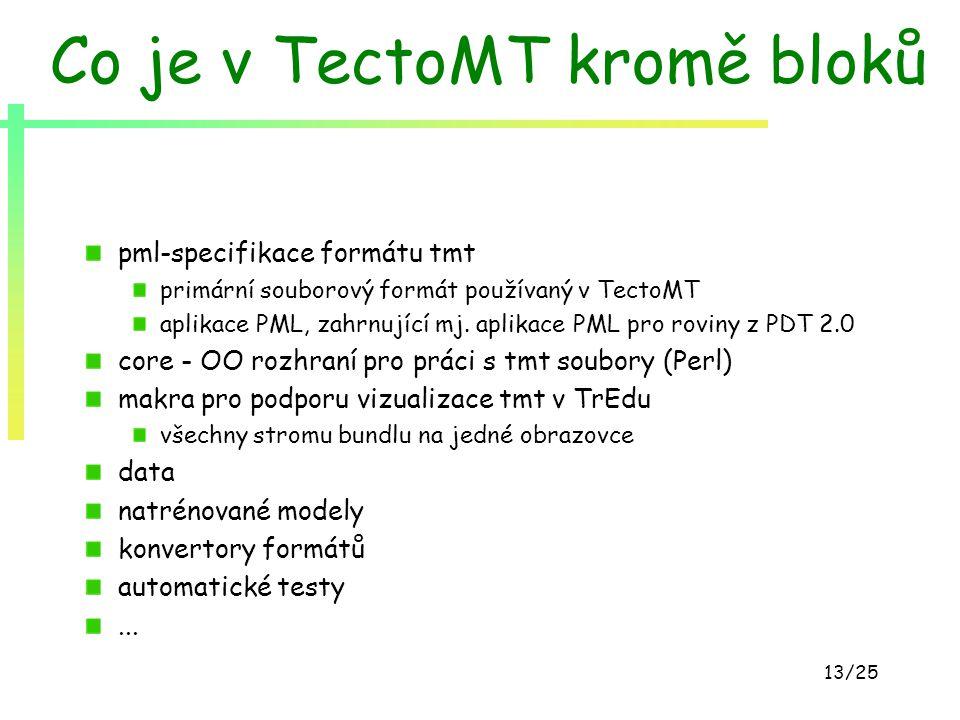 13/25 Co je v TectoMT kromě bloků pml-specifikace formátu tmt primární souborový formát používaný v TectoMT aplikace PML, zahrnující mj. aplikace PML