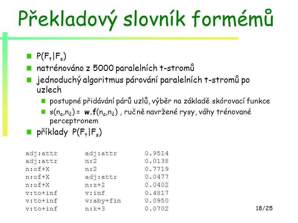 18/25 Překladový slovník formémů P(F t |F s ) natrénováno z 5000 paralelních t-stromů jednoduchý algoritmus párování paralelních t-stromů po uzlech po